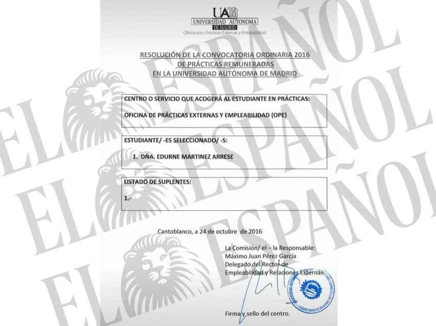 Documento de la Universidad Autónoma de Madrid.