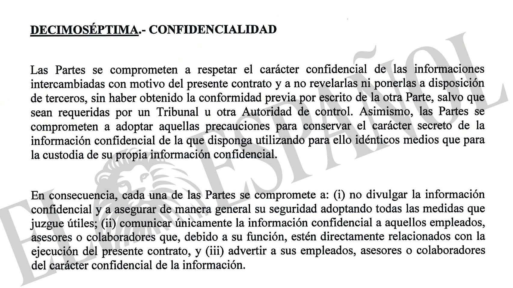 Cláusula de confidencialidad de los contratos de b2b.