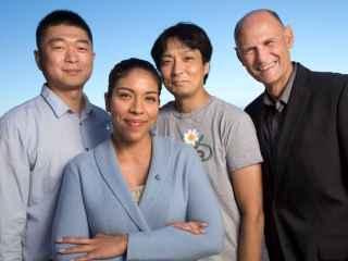 De izquierda a derecha: Jun Wu, Reyna Hernandez-Benitez, Keiichiro Suzuki y Juan Carlos Izpisua