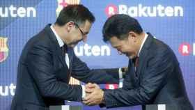 El presidente del Barcelona y el presidente de Rakuten, Hiroshi Mikitani.