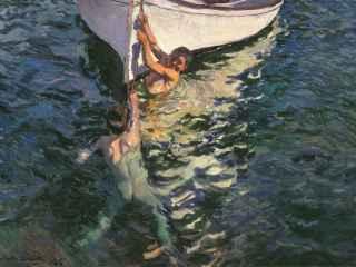 El bote blanco, pintado por Sorolla en 1905, una pieza clave de la exposición.