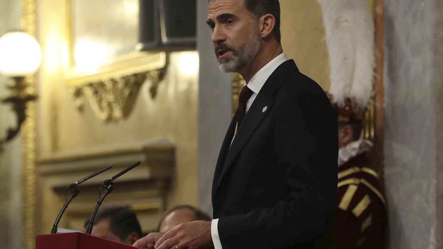 Felipe VI, en un momento del discurso.