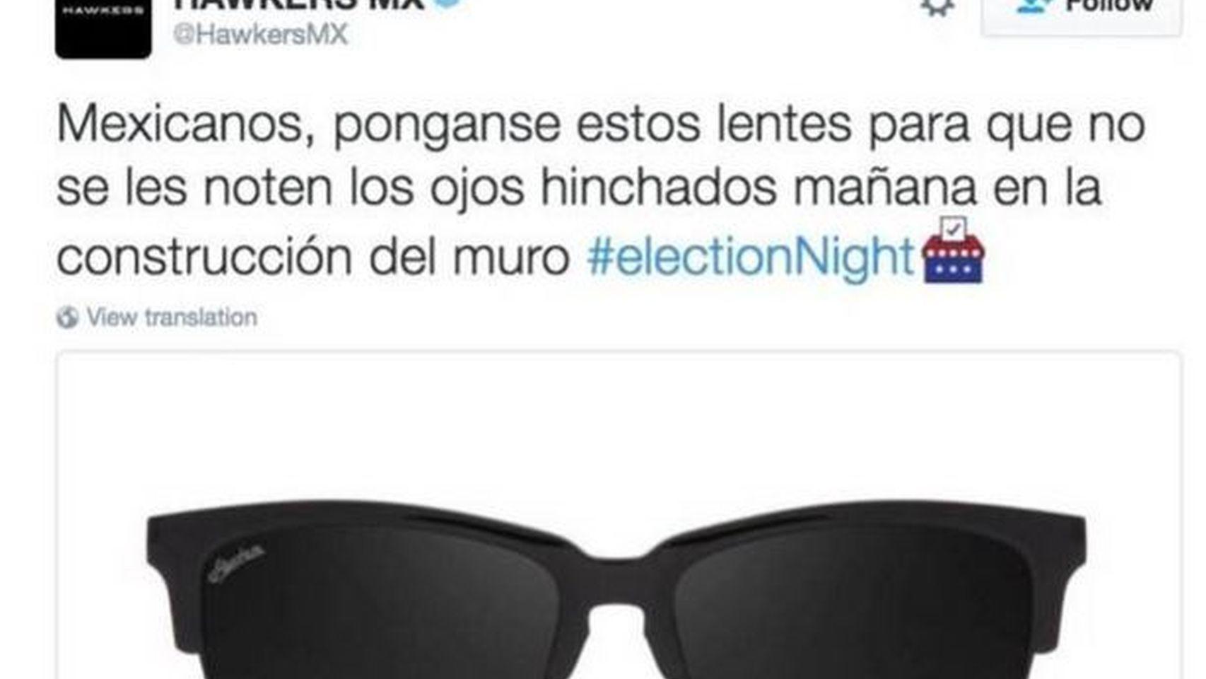 Tuit de Hawkers sobre Trump y el muro de México.