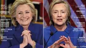 Hillary Clinton, en 2015 (izda) y esta misma semana (dcha).