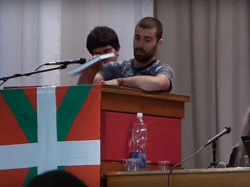 Ramírez durante su participación en una asamblea en Ucrania.