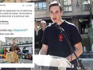 Pablo Reinoso en el acto en el que justificó el asalto de los falangistas al centro Blanquerna.