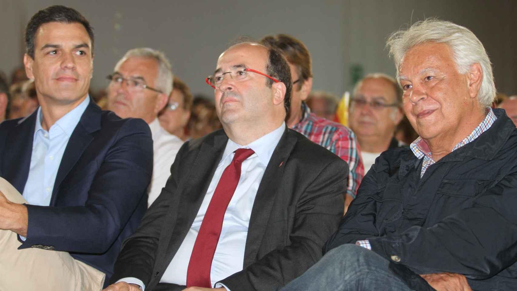 González, con Miquel Iceta y Pedro Sánchez