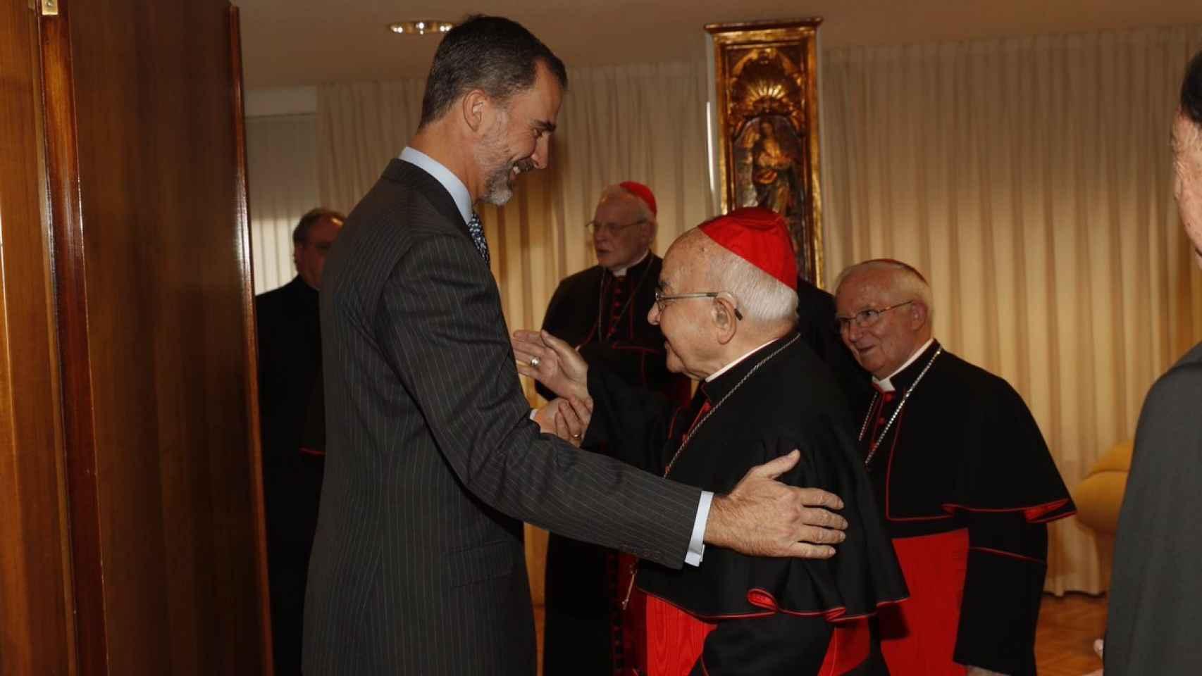 Felipe VI y el presidente de la Conferencia Episcopal.