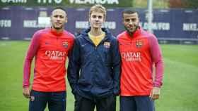 De izquierda a derecha, Neymar, Justin Bieber y Rafinha