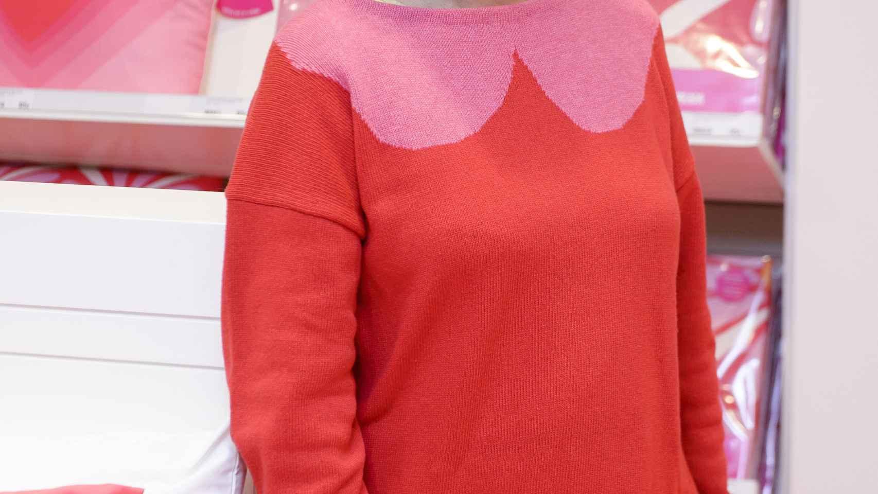 Agatha Ruiz de la Prada este martes en la presentación de su nueva colección textil