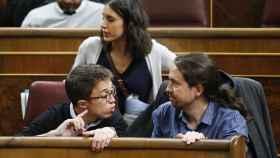 Errejón, Montero e Iglesias este martes en el Congreso.