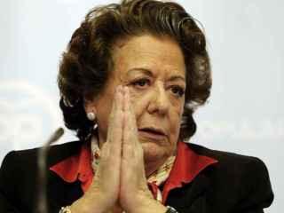 Rita Barberá durante una rueda de prensa en la sede del PP de Valencia