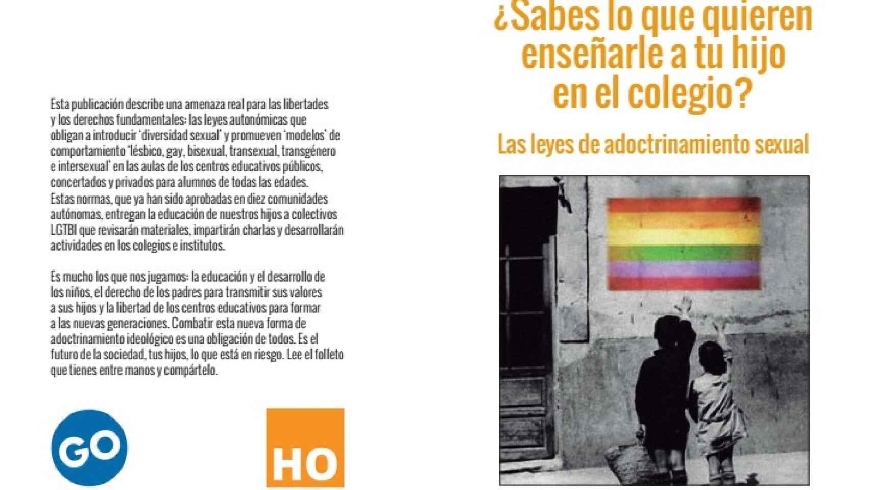 Panfleto repartido por la plataforma HazteOir contra las leyes LGTB