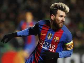 Messi celebra uno de sus goles ante el Celtic.