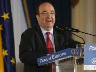 Miquel Iceta, líder del PSC, este miércoles en un desayuno informativo en Madrid.