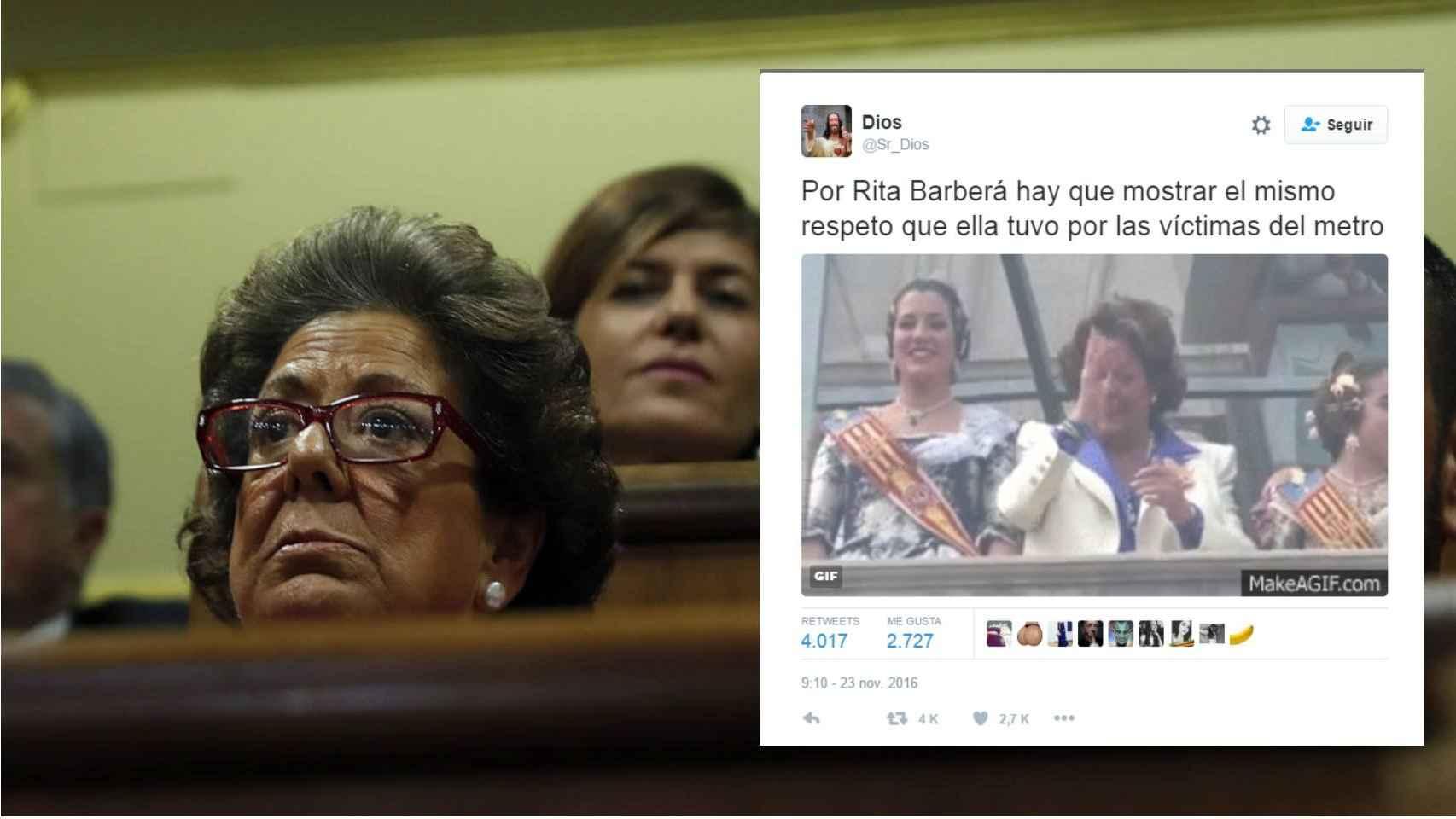 Rita Barberá en el Hemiciclo / Uno de los tuits que recuerda el incidente del balcón.