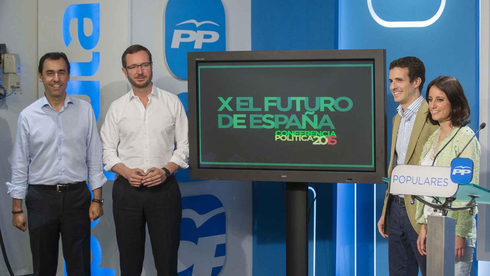 De izda. a dcha: Fernando Martínez Maillo, Javier Maroto, Pablo Casado y Andrea Levy.