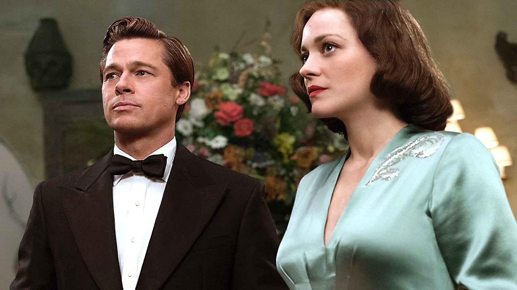 Pitt y Cotillard en su nueva película, Aliados.
