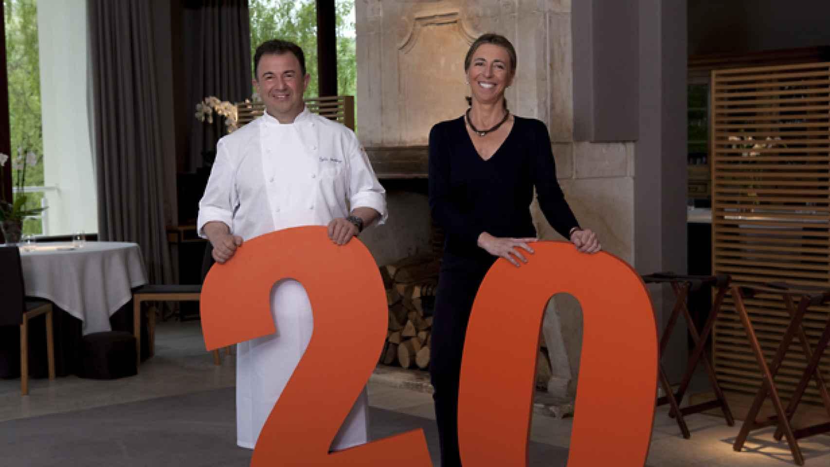 El matrimonio celebra los 20 años del restaurante de Lasarte