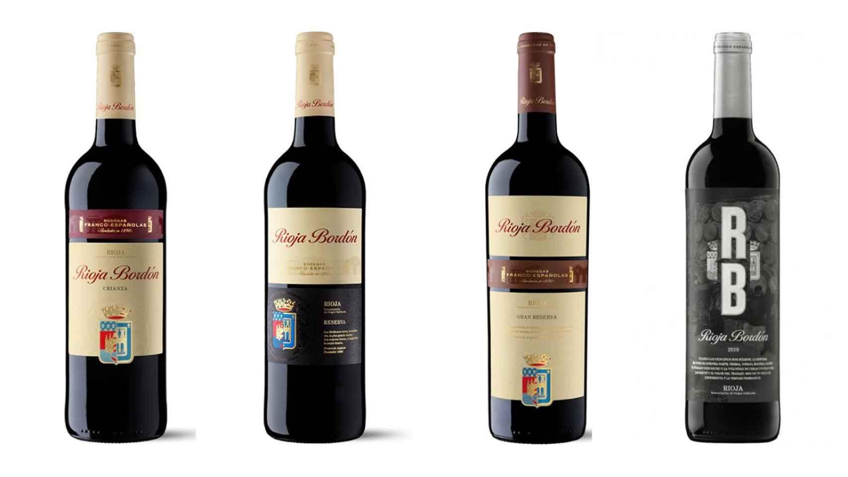 La gama de Rioja Bordón: crianza, reserva y Gran Reserva, y la versión RB Selección ( etiqueta negra).