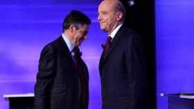 Fillon (i.) y Juppé (d.), durante el último debate de las primarias conservadoras.
