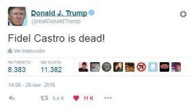 Donald Trump se despierta y tuitea ¡Fidel Castro está muerto!