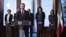 Íñigo Urkullu, durante su intervención en el acto de toma de posesión de los once consejeros del Gobierno Vasco.