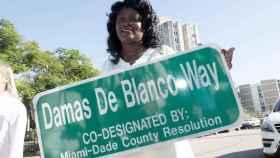 Berta Soler, en la inauguración de la calle Damas de Blanco en Miami el 23 de noviembre de 2016.