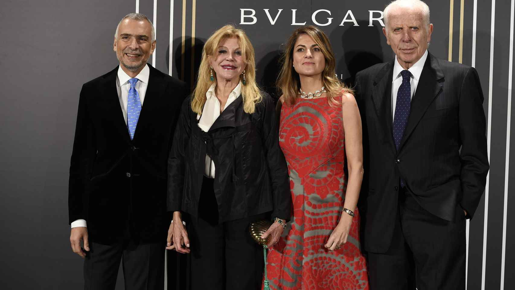 El embajador italiano en Madrid, Carmen Cervera, Maite Carpio y Paolo Bulgari posaban junto anoche.
