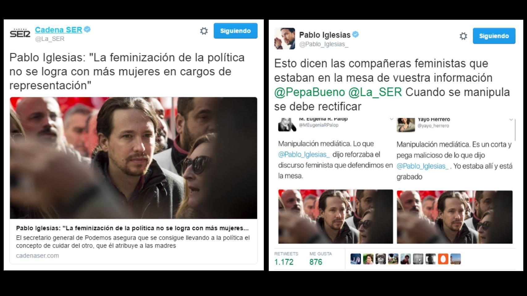 Pablo Iglesias responde a la información de Cadena Ser.