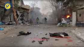 Algunos de los cadáveres tras los bombardeos ocurridos en el este de Alepo.