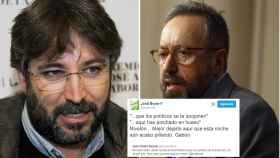 Jordi Évole y Juan Carlos Girauta, y uno de los tuits de la discusión.