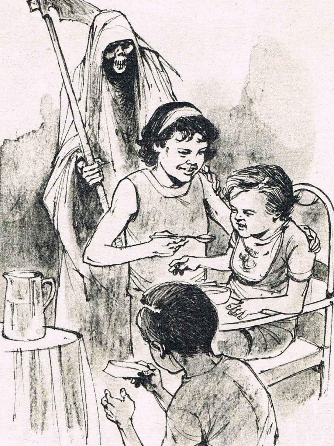 Dibujo que publicó El Caso mostrando cómo Piedad envenenaba a sus hermanitos.
