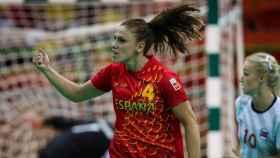 Carmen Martín celebra un gol durante los Juegos de Río.