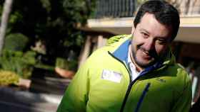 Northern League party leader Matteo Salvini looks on during an interview with Reuters in Rome