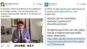 Tuits del alcalde de Alcorcón y de su corporación local.
