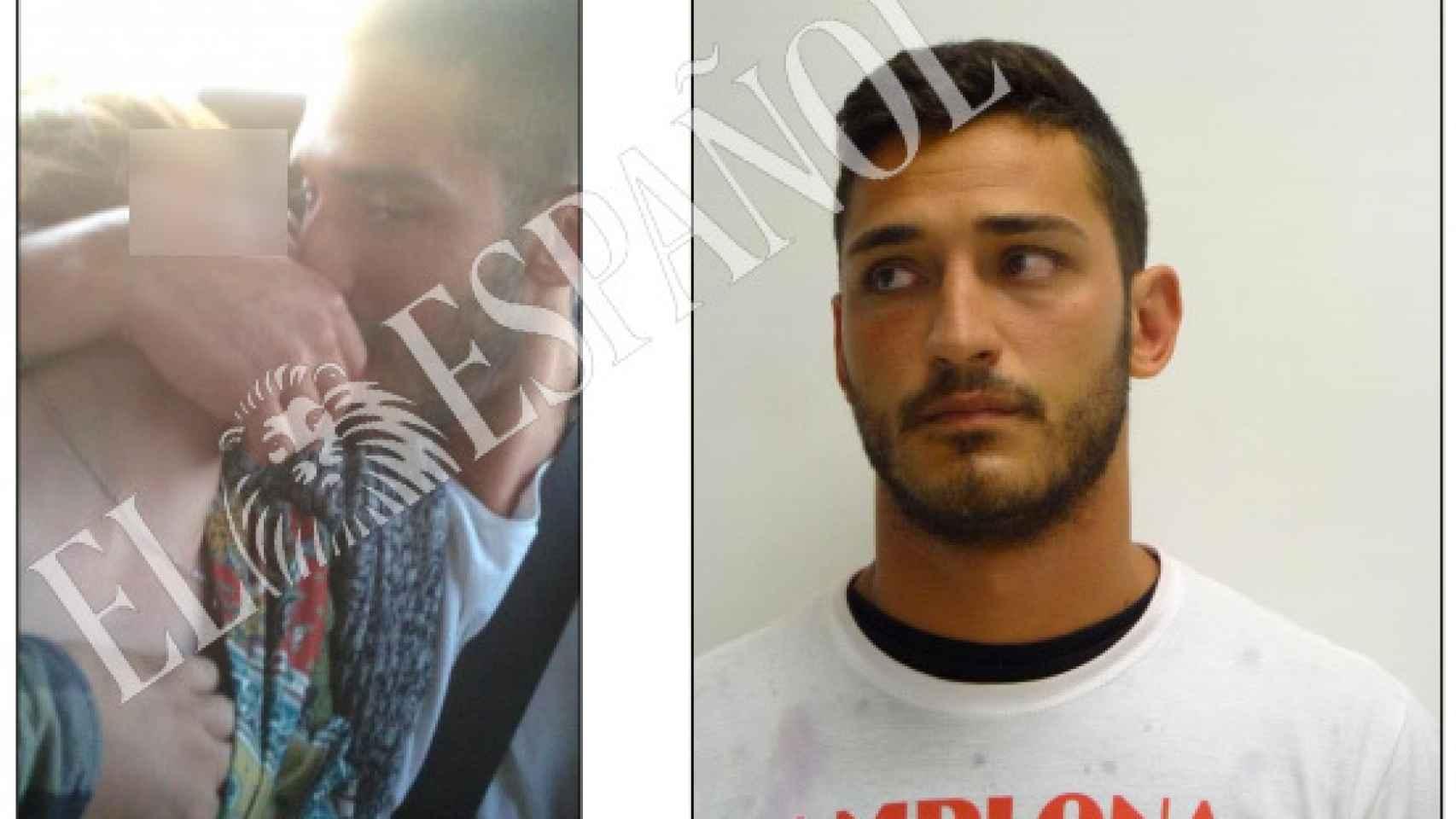 Alfonso Jesús Cabezuelo, en el vídeo con la denunciante, y tras la detención en Pamplona.