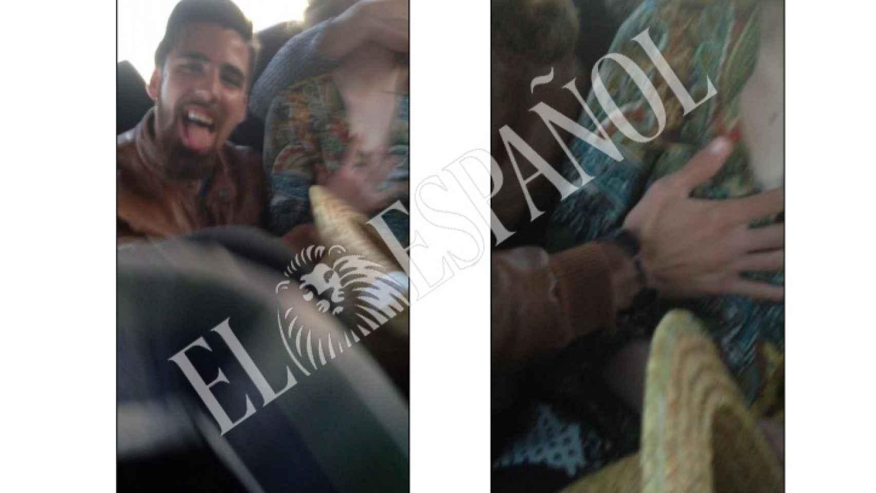 Jesús Escudero, a la derecha de la joven de Pozoblanco en dos de las escenas del vídeo investigado.