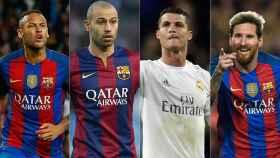 Neymar, Mascherano, Cristiano Ronaldo y Messi.