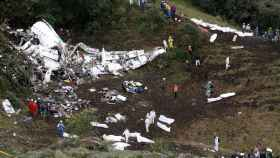 El avión siniestrado del Chapecoense en Colombia.