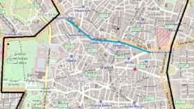 Plano de los cortes en el centro de Madrid.