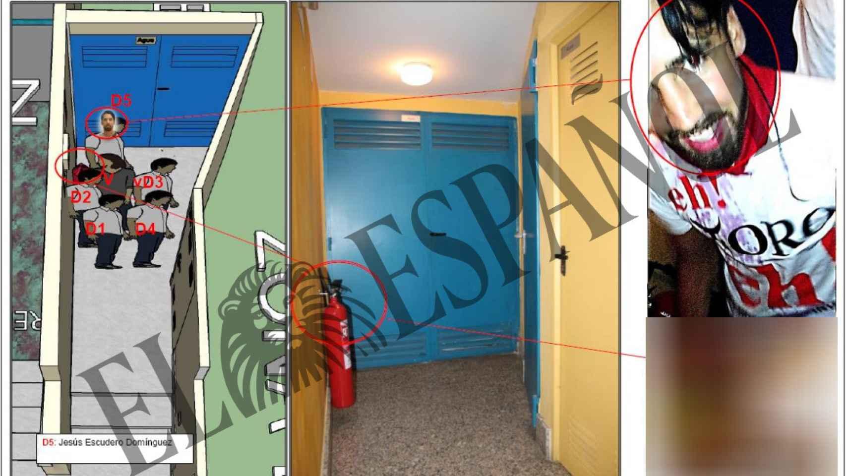 Croquis del portal de Pamplona: a la izquierda, posiciones de los jóvenes sevillanos y la joven denunciante según el informe pericial de los vídeos; a la derecha, detalle de uno de ellos, Jesús Escudero.