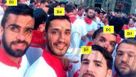 Los cinco investigados en San Fermín: Antonio M. Guerrero (D1), Alfonso J. Cabezuelo (D4), J. Escudero (D5), Ángel Boza (D2) y José Á. Prenda (D3).