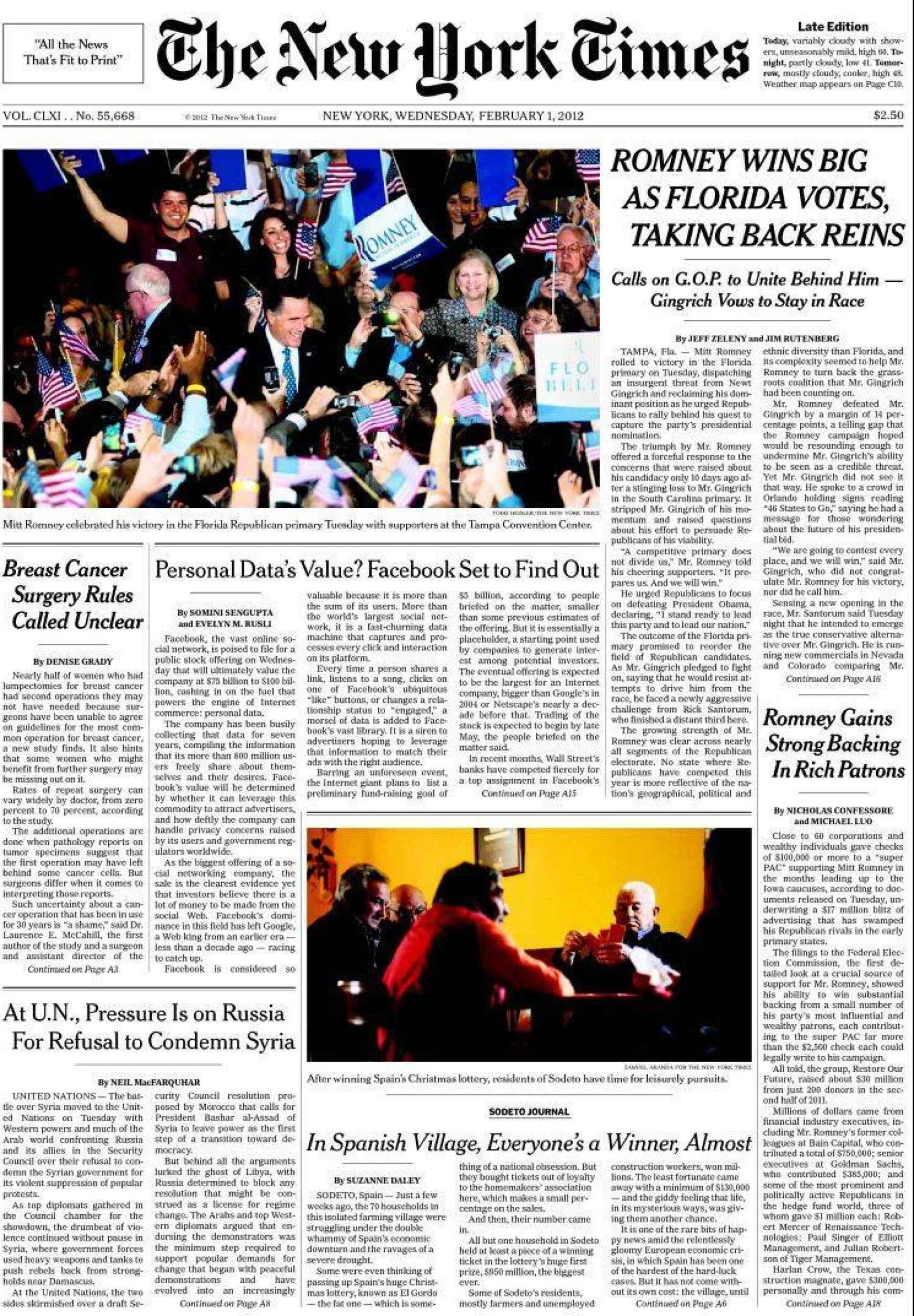 The New York Times llevó a portada la noticia de Sodeto el 1 de febrero de 2012.