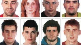 Imagen de los detenidos por la agresión de Alsasua: Adur Ramírez de Alda, Ainara Urquijo, Aratz Urrizola, Iñaki Abab, Jokin Unamuno, Jon Ander Cob, Julem Goicoechea y Oihan Arnanz.