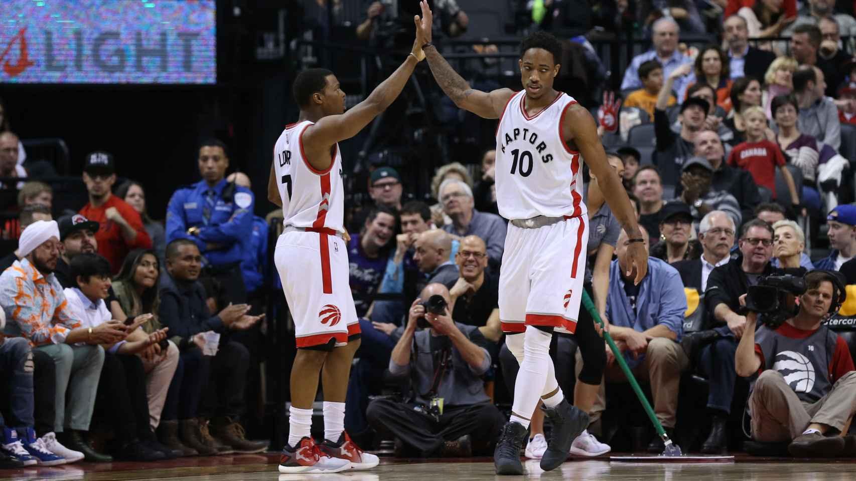 Kyle Lowry y DeMar DeRozan en un partido reciente de los Toronto Raptors.