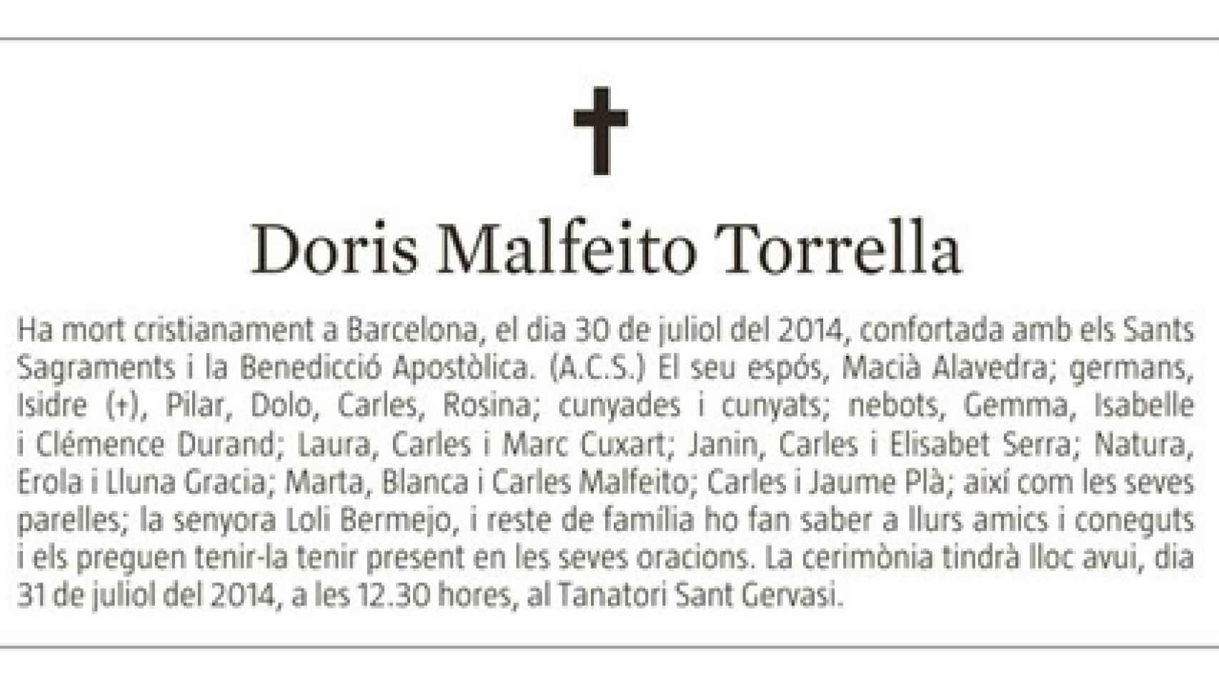 La esquela que publicó La Vanguardia por la muerte de Doris Malfeito