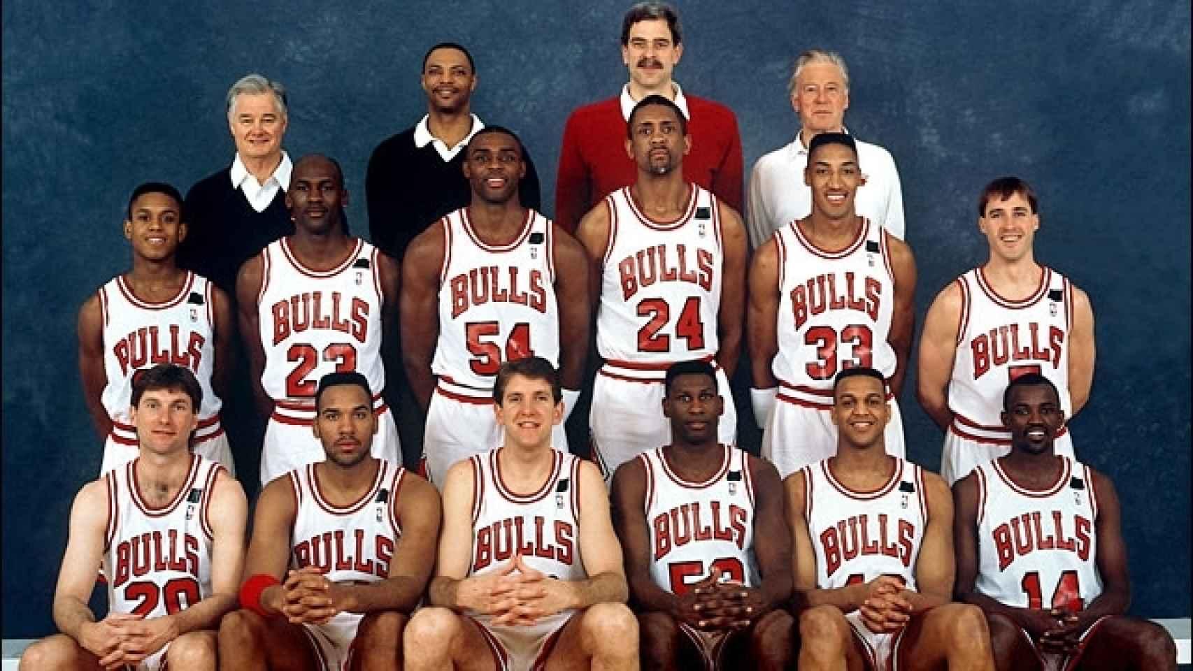 Plantilla de los Chicago Bulls del curso 1991/1992.