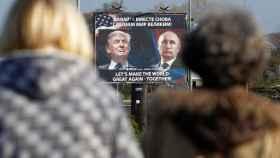 Trump y Putin, en un cartel en Montenegro: -Hagamos el mundo grande de nuevo- ¡juntos!