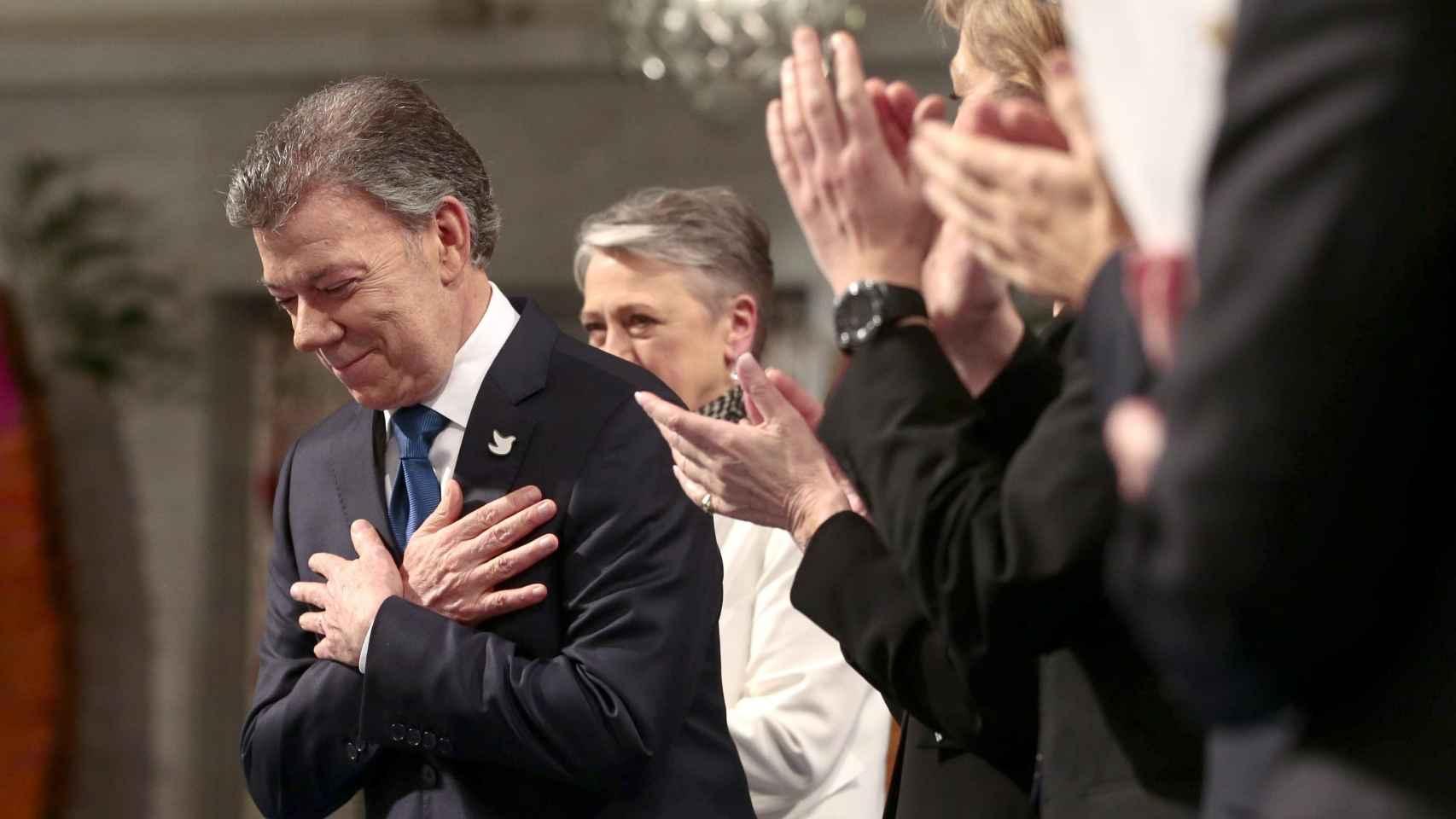 Juan Manuel Santos, en la recogida del premio Nobel de la Paz.